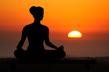 Yoga on a budget - meditation and sunset picture