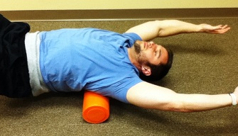 Myofascial release spine/midback exercise