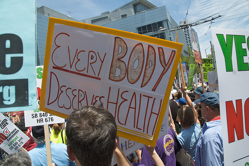 health insurance protest image in San Fransisco