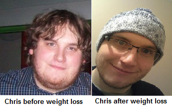 chris before and after weight loss
