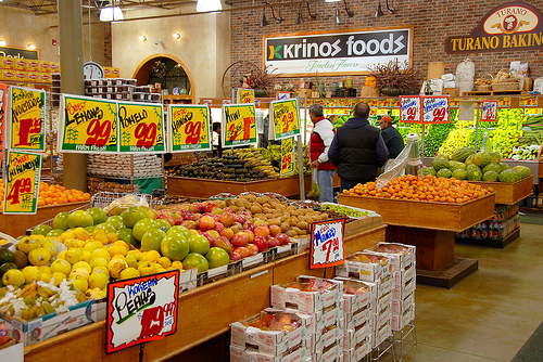 fruits and vegetables section in grocery store