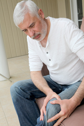 senior man with arthritis pain