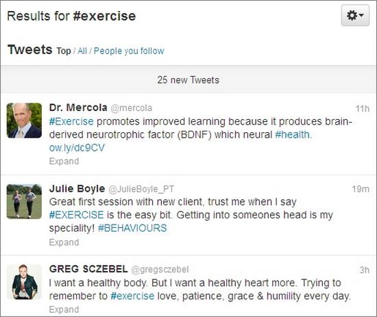 exercise twitter hashtag
