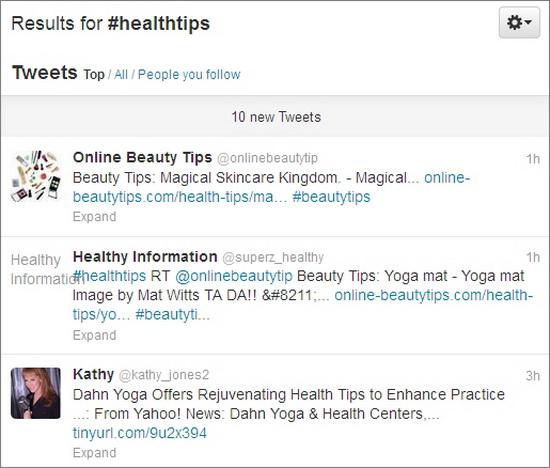 healthtips twitter hashtag
