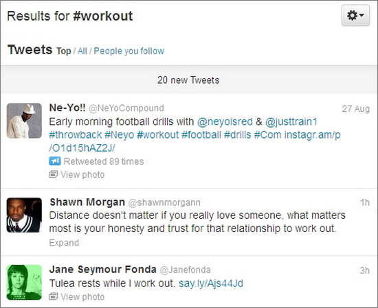 twitter screen for hashtag workout