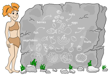 cave woman explains paleo diet using a food pyramid drawn on sto