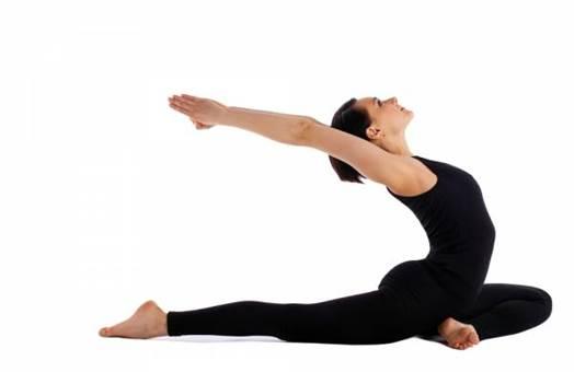 Indoor yoga pose